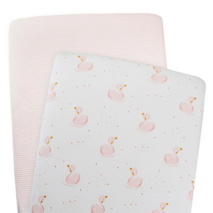 2-Pack Jersey Moses/Pram Fitted Sheets - Swan Princess/Pink Stripe