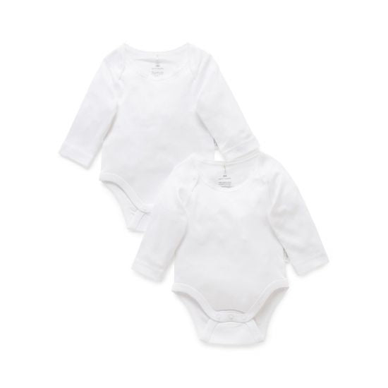 Pure Baby Easy Neck Long Sleeve Bodysuit 2 pack