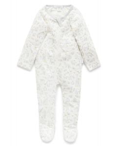 Pure Baby Grey Animal Kingdom Print Zip Growsuit