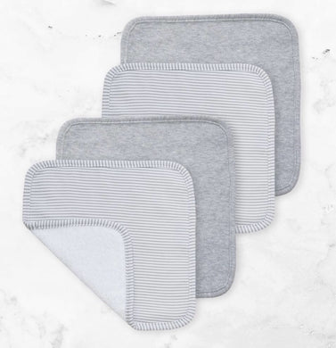 4-Pack Face Washers - grey Stripe