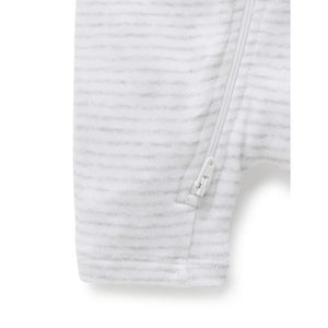 Pure Baby Zip Growsuit - Pale Grey Melange Stripe