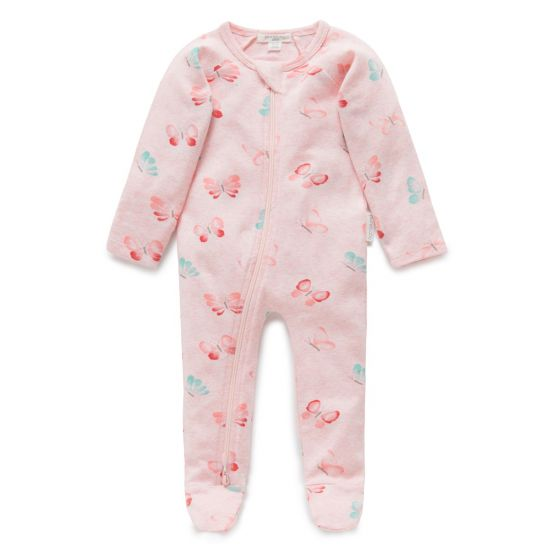 Pure Baby Butterfly Zip Growsuit