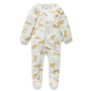 Pure Baby Tiger Printed Zip Growsuit
