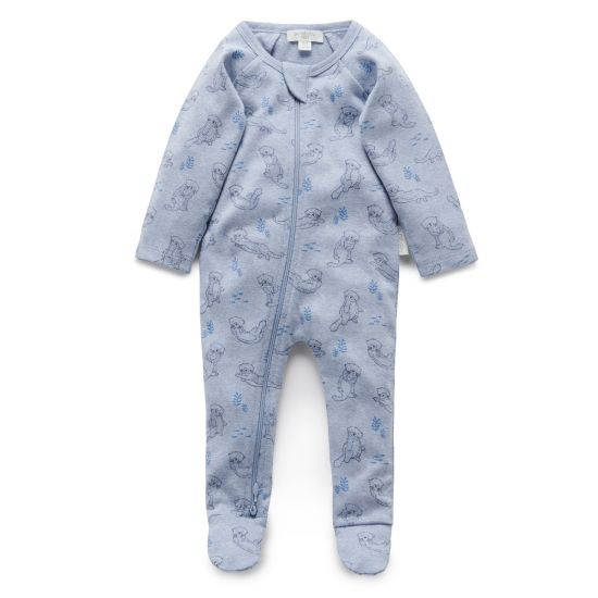 Pure Baby Otter Printed Zip Growsuit
