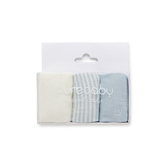 Pure Baby Sock Pale Blue 3 Pack 0-3m