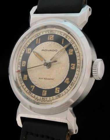 Early Movado Acvatic Two-Tone Military Dial   SOLD