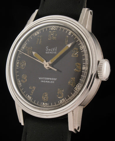 Solvil Paul Ditisheim Military Watch in S. Steel  SOLD