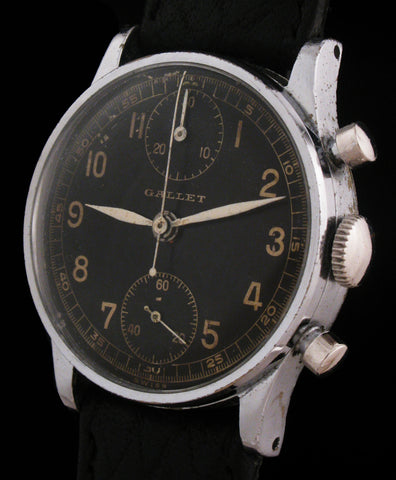Gallet Chronograph Watch Black Military Dial SOLD