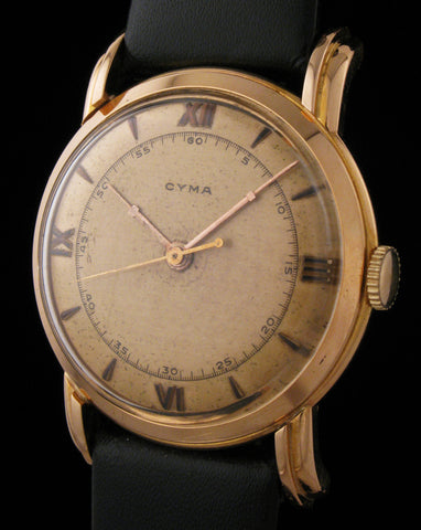 Cyma Art Deco 18k Rose Gold Dress Watch SOLD