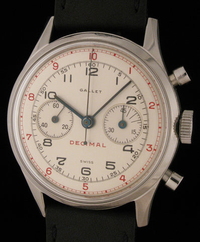 Gallet Decimal Chrono Stainless Steel Nr Mint SOLD