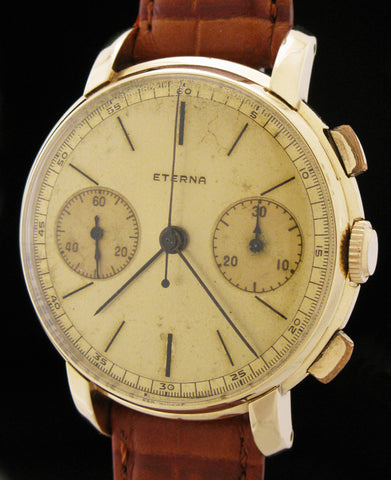 Eterna Chronograph 14K Gold Valjoux Caliber 22 SOLD