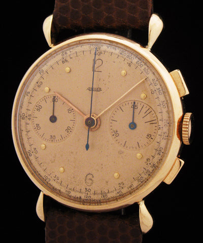 Jaeger 18k Rose Gold Chronograph Teardrop Lugs SOLD