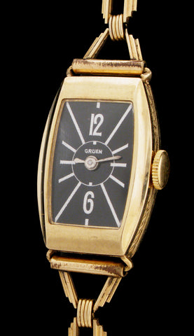 1930's Gruen Art Deco With Black Dial Nr Mint SOLD