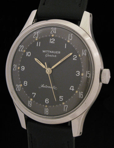 Wittnauer Geneve Automatic 24 Hour Black Dial Model 8025