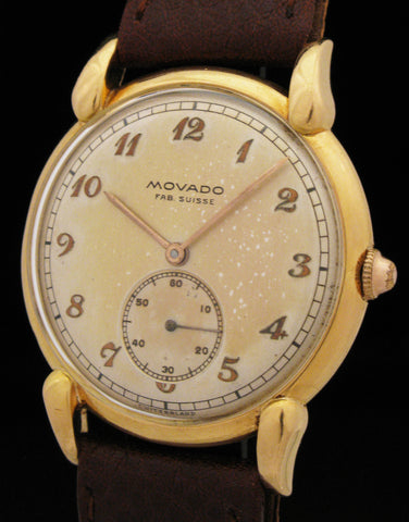 18k Gold Movado Fab Suisse Fancy Horn Lugs Dress Watch