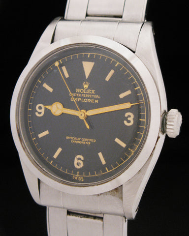 1953 Rolex Explorer Honeycomb Gilt Dial Model 6350 Lollipop Seconds