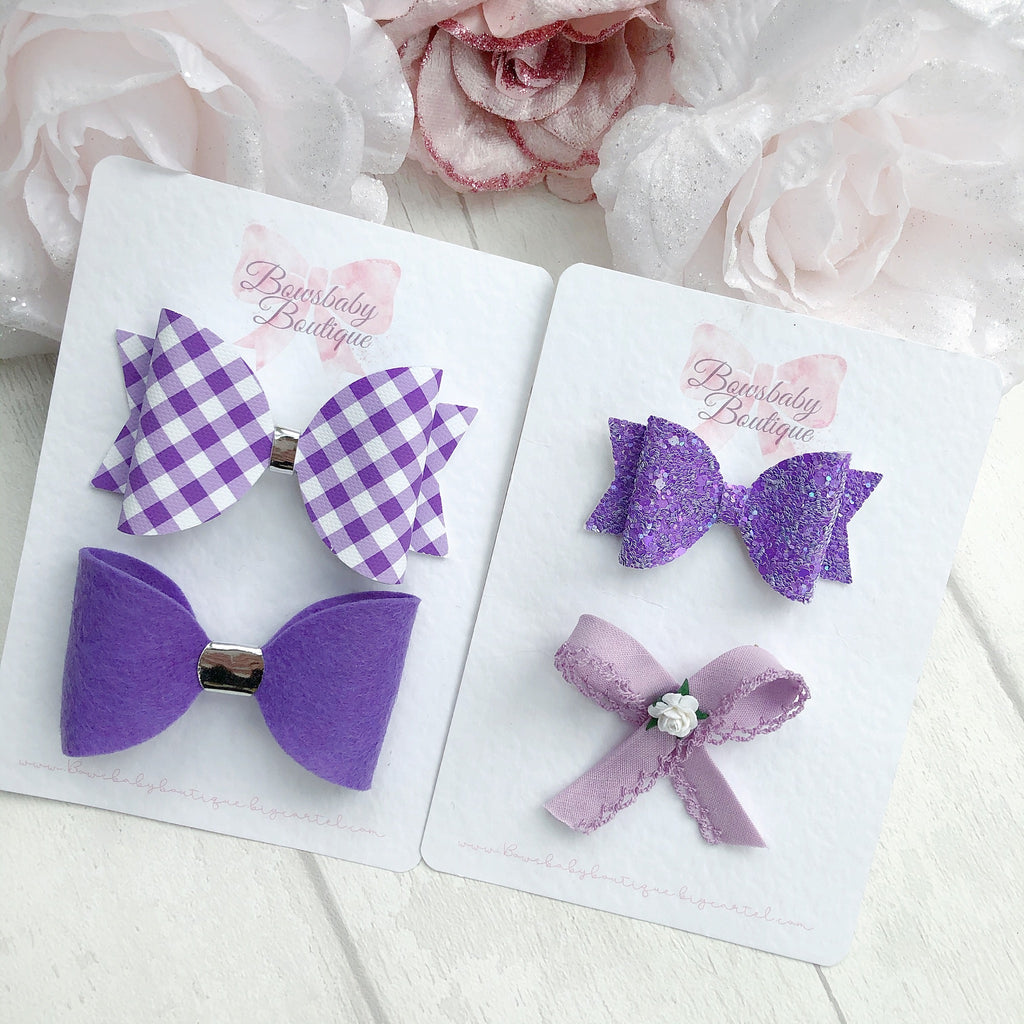 Purple school bow set