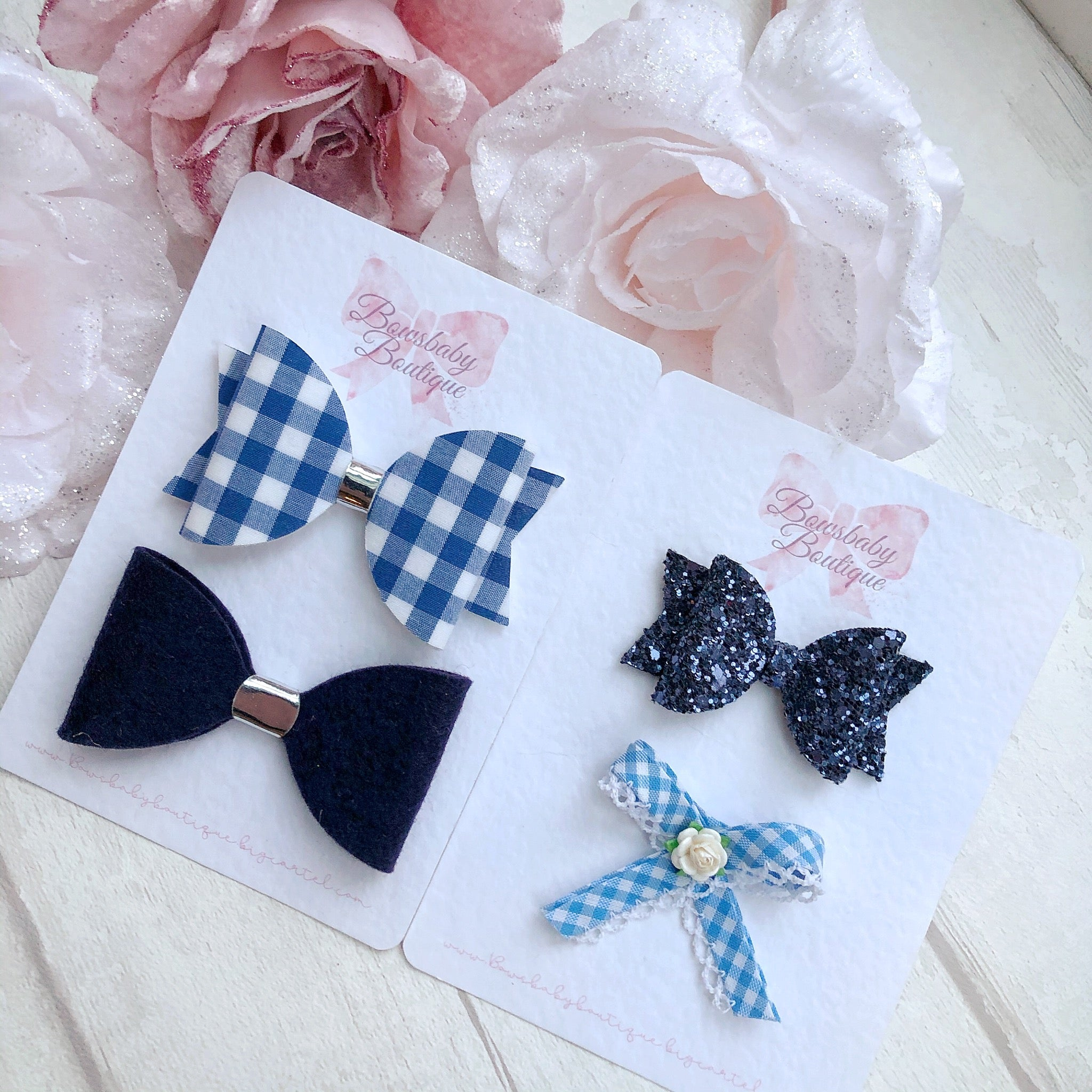 Blue school bow set
