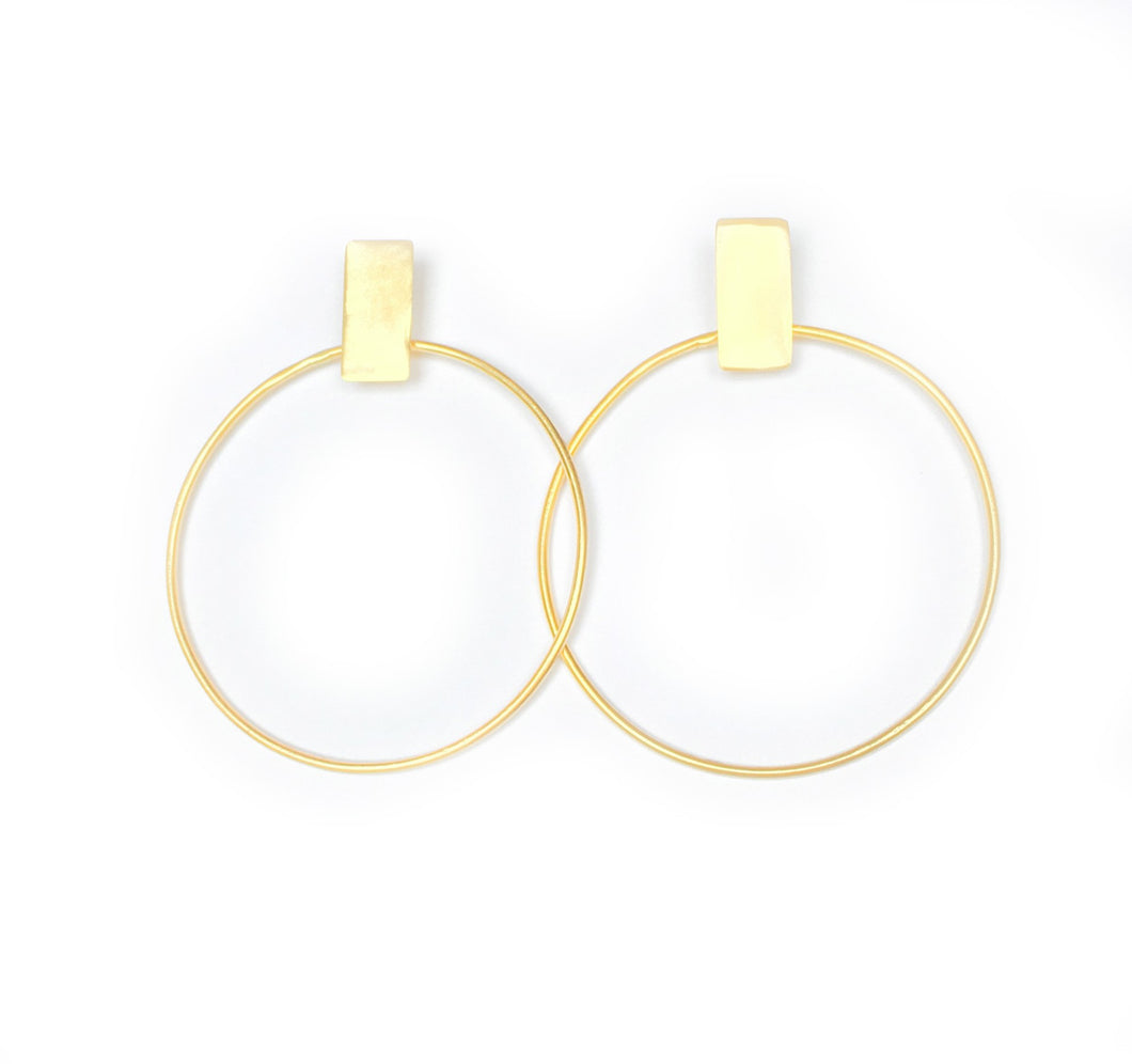 Doorknob Earrings Gold Tone