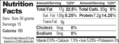 Nutrition Facts - Raw Walnut Quarters - 16 oz.