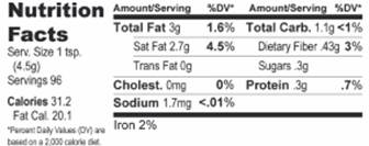 Nutrition Facts 16 oz.