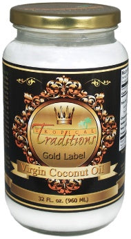 Image of Gold Label Virgin Coconut Oil - 32 oz from Tropical Traditions. This certified organic product is a healthy cooking oil and high in antioxidants.
