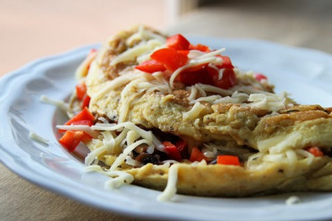 Mushroom and Red Pepper Mozzarella Omelet