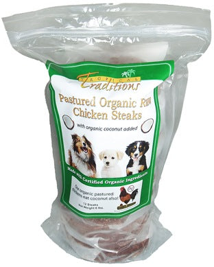 Pastured Organic Raw Chicken Steaks for Dogs