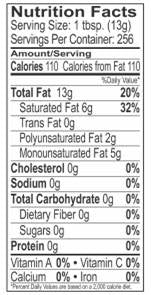 Palm Shortening Nutrition Label