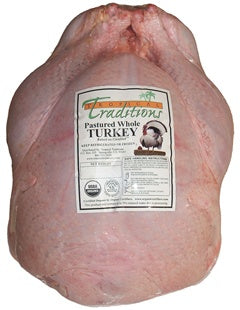 Picture of one frozen Organic Pastured Free Range Turkey raised on Cocofeed with no soy by family farmers in Wisconsin during the summer