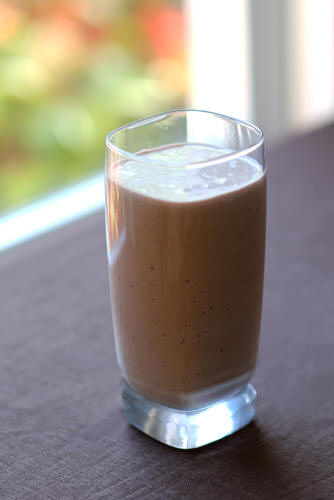 How to use coconut oil in chocolate coconut banana protein shake recipe photo