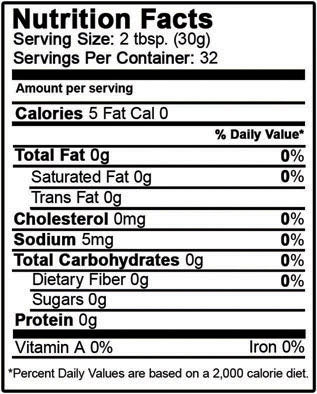 Organic Coconut Water Vinegar Nutrition Facts
