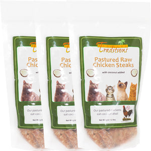 3 Packages Pastured Raw Chicken Steaks for Cats - 3.6 lbs. Total