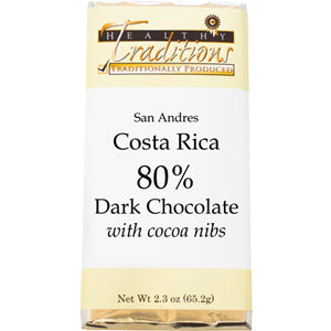 80% Dark-Costa Rica Chocolate with Cocoa Nibs – 2.3 oz