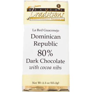 80% Dark-Dominican Republic Chocolate with Cocoa Nibs – 2.3 oz