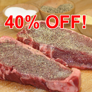Grass-fed Beef - New York Strip Steaks - approx. 12 oz. (4 steak min)