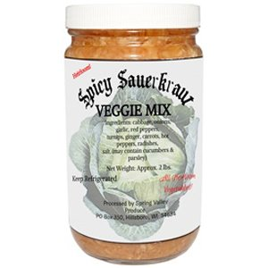 Raw Spicy Sauerkraut Plus Veggie Mix - 2 lbs.