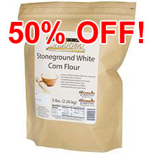 GMO-tested White Corn Flour – 5lb. Bag