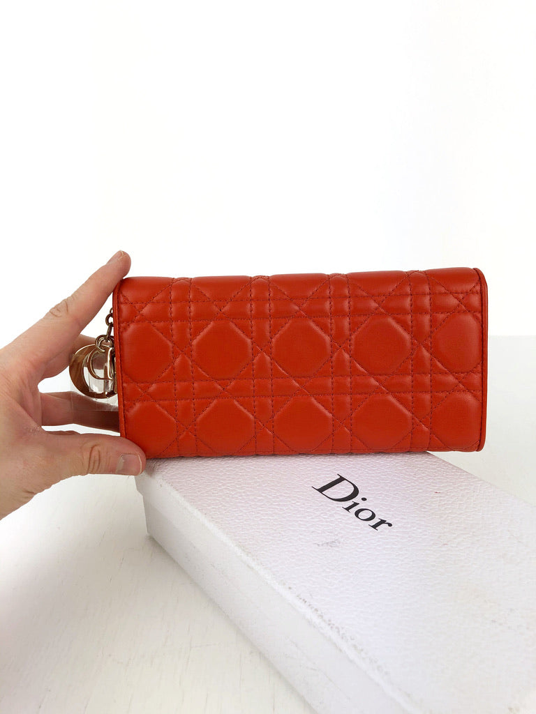 Lady Dior Long Wallet/Wallet On Chain - Orange