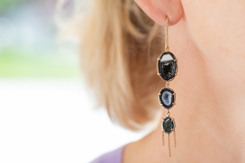 AUDREY earrings, blue/black