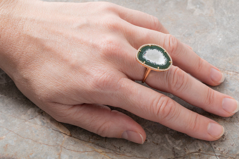 ROCKY ring, white/green