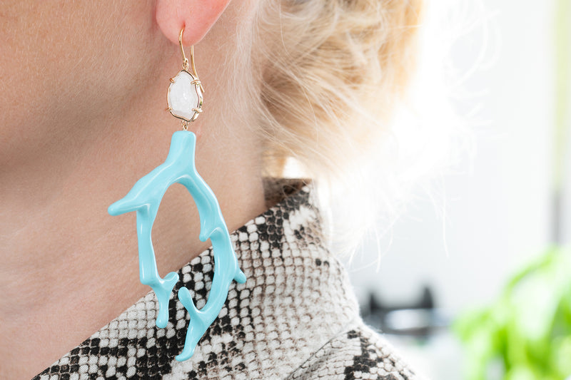LINNA earring XL, turquoise/white