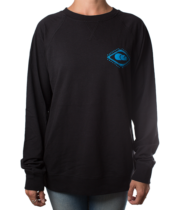 Black Crewneck with Blue Logo
