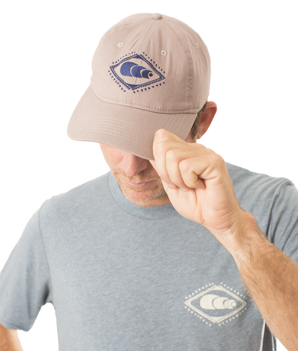 Khaki Hat with Blue Logo