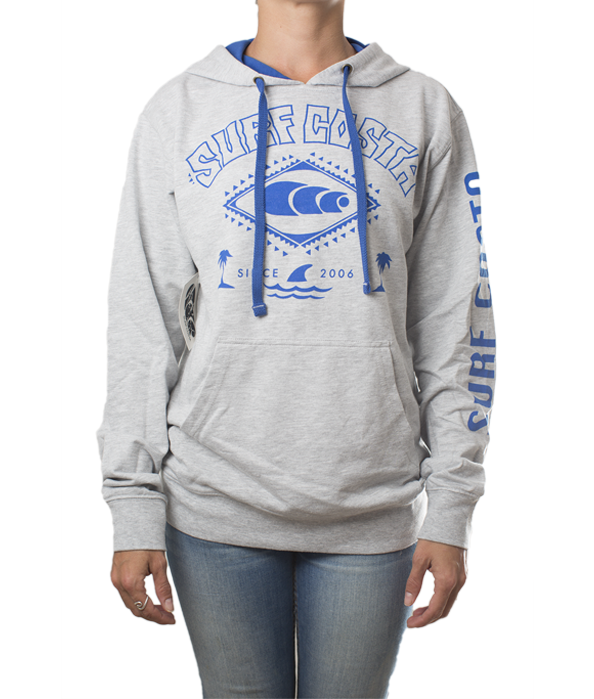 Grey Hoodie with Blue Logo