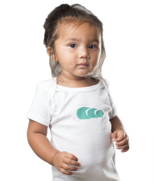 White Toddler Onesie with Teal Logo