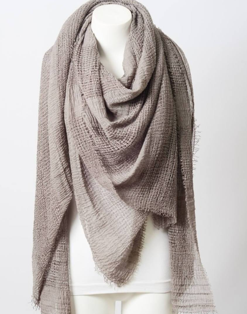 Perfect Square Light Beige Blanket Scarf - www.PlusMySize.com