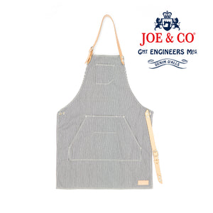 JCA-002 - 7oz YARN DYED AND WOVEN HICKORY STRIPE  & LEATHER APRON