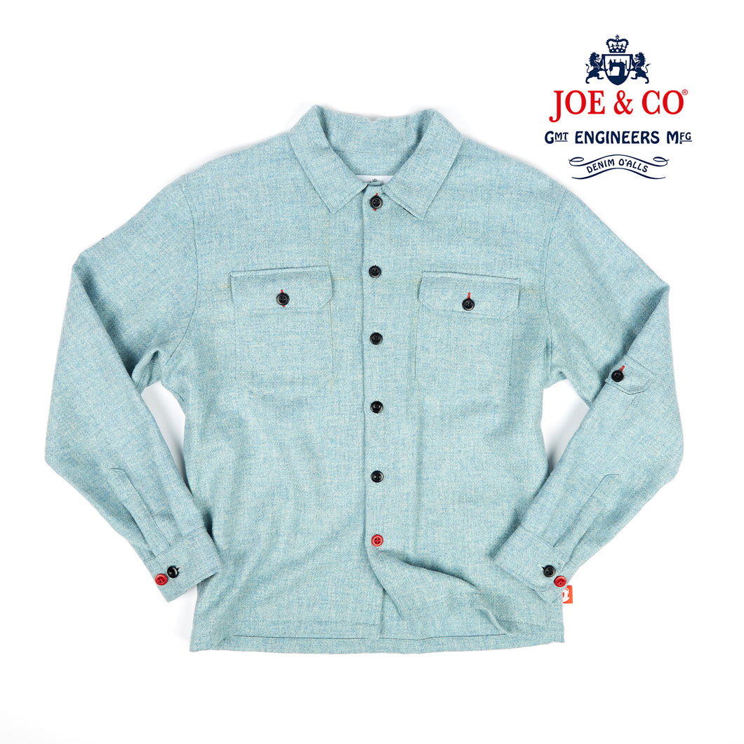 Paxton 3 Aqua blue British wool over shirt