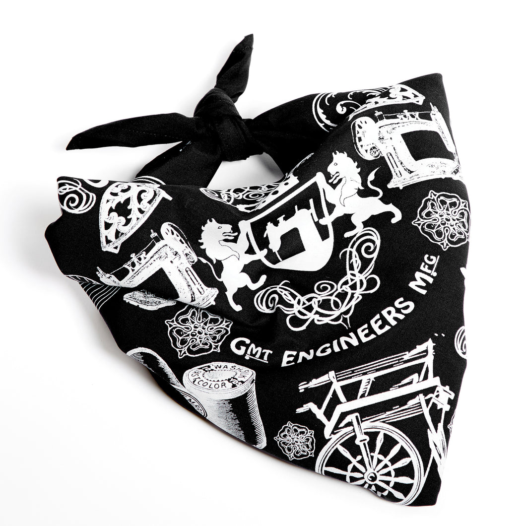 British Made black silk screen printed bandana